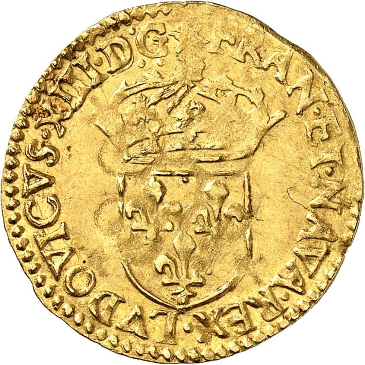 FRANCE Louis XIII (1610-1643). Écu d'or au soleil 1615, Rouen.