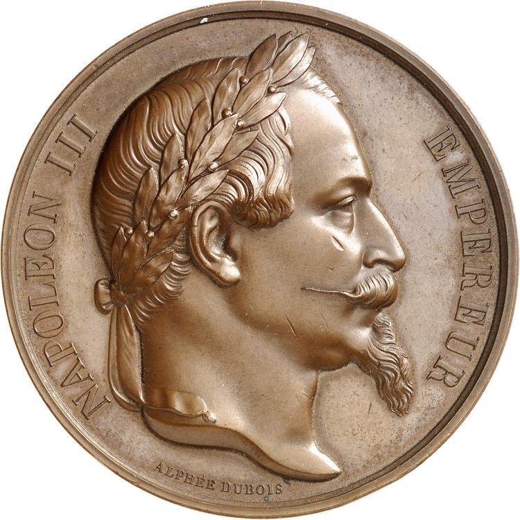 THAÏLANDE Napoléon III (1852-1870). Médaille en bronze, frappée à l'occasion de la réception des ambassadeurs des rois du Siam au château de Fontainebleau le 27 juin 1861, par Alphée Dubois, Poinçon abeille.