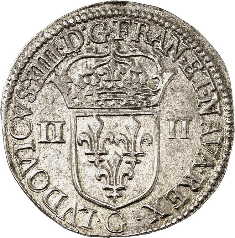 FRANCE Louis XIII (1610-1643). Quart d'écu 1642, Poitiers.