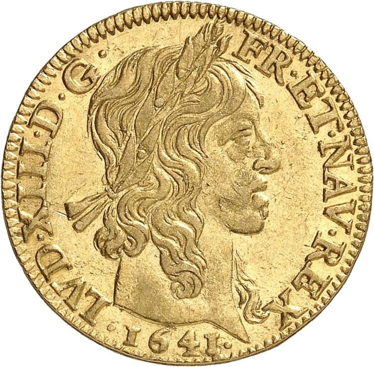 FRANCE Louis XIII (1610-1643). Louis d'or à la mèche longue 1641, Paris.