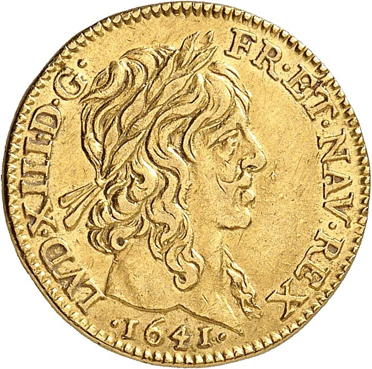 FRANCE Louis XIII (1610-1643). ½ louis d'or à la mèche longue 1641, Paris.