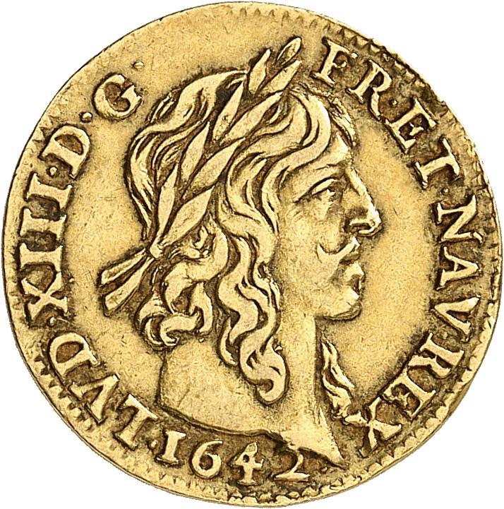 FRANCE Louis XIII (1610-1643). ½ louis d'or à la mèche longue 1642, Paris.