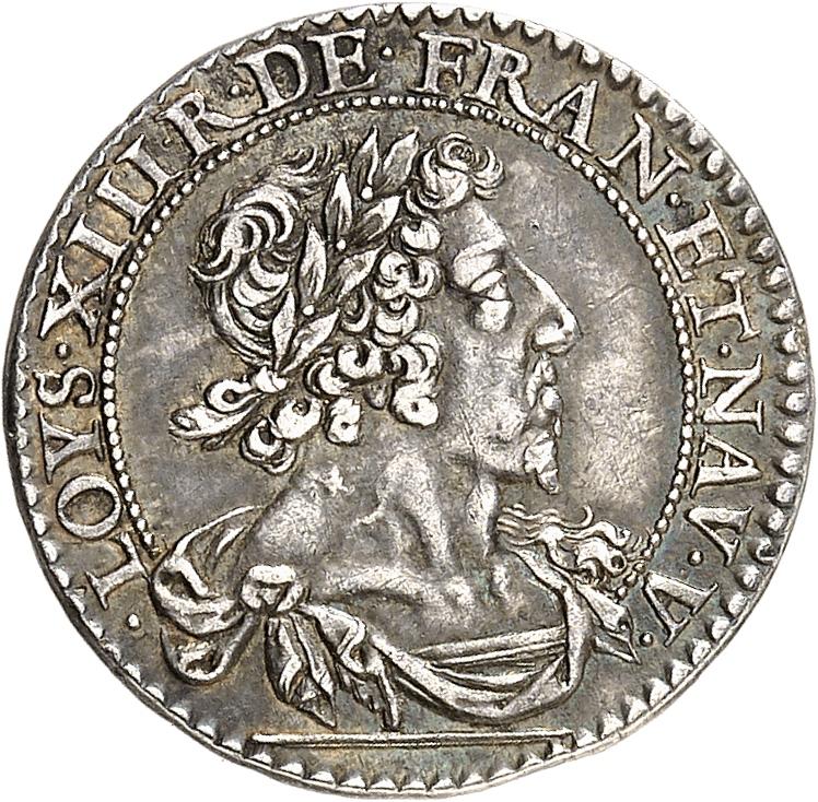 FRANCE Louis XIII (1610-1643). Essai en argent du double tournois 1629.