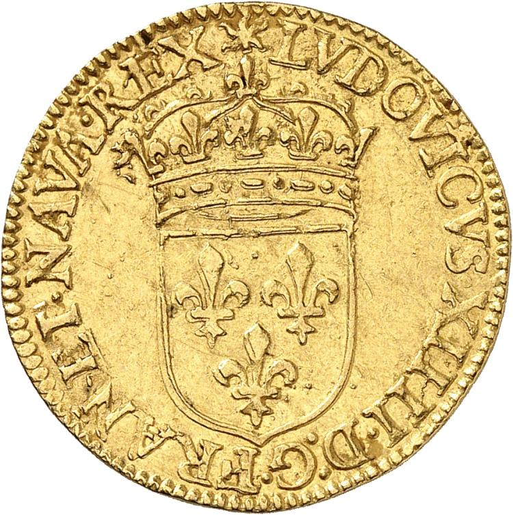 FRANCE Louis XIV (1643-1715). Écu d'or 1645, Paris, frappé au moulin.