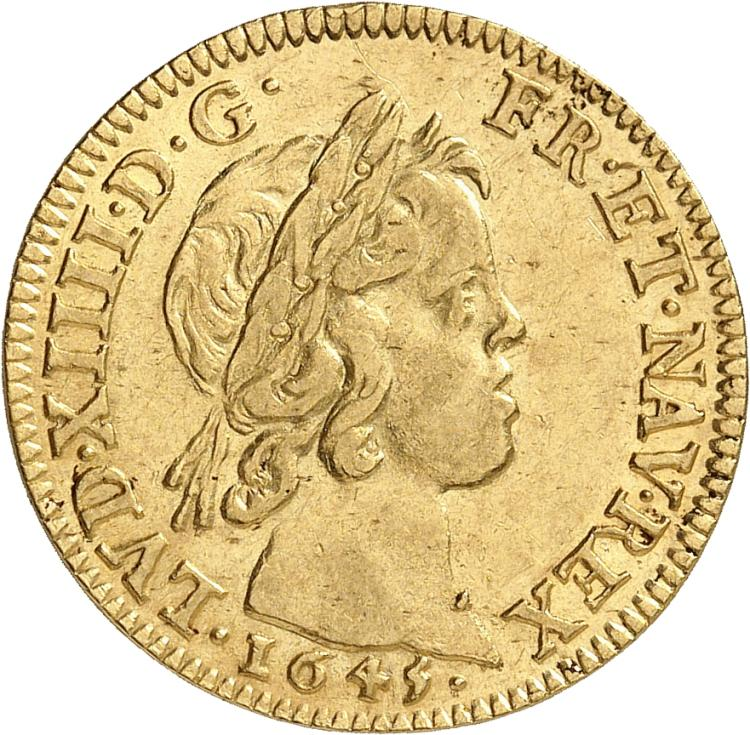 FRANCE Louis XIV (1643-1715). Louis d'or à la mèche courte 1645, Paris.
