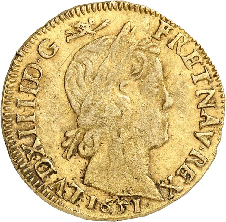 FRANCE Louis XIV (1643-1715). Louis d'or à la mèche longue 1651, Narbonne.