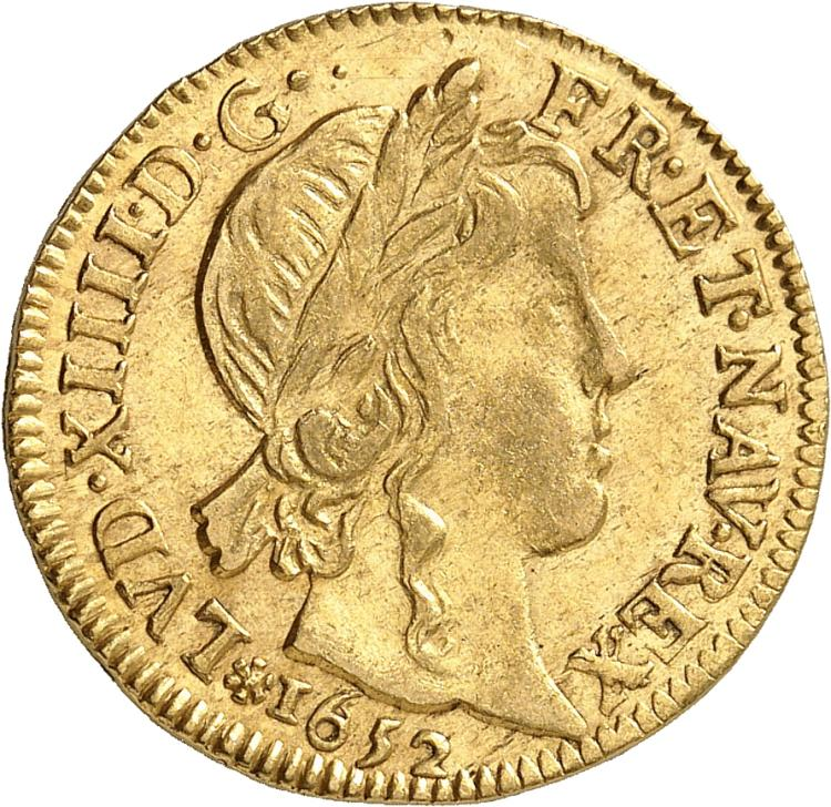 FRANCE Louis XIV (1643-1715). Louis d'or à la mèche longue 1652, Tours.
