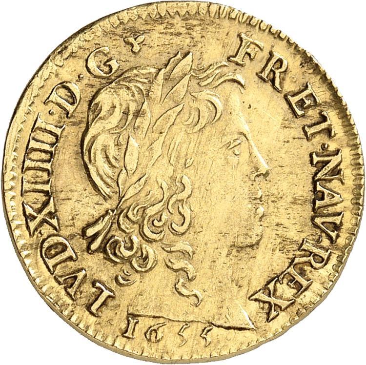 FRANCE Louis XIV (1643-1715). Louis d'or à la mèche longue 1655, Bourges.