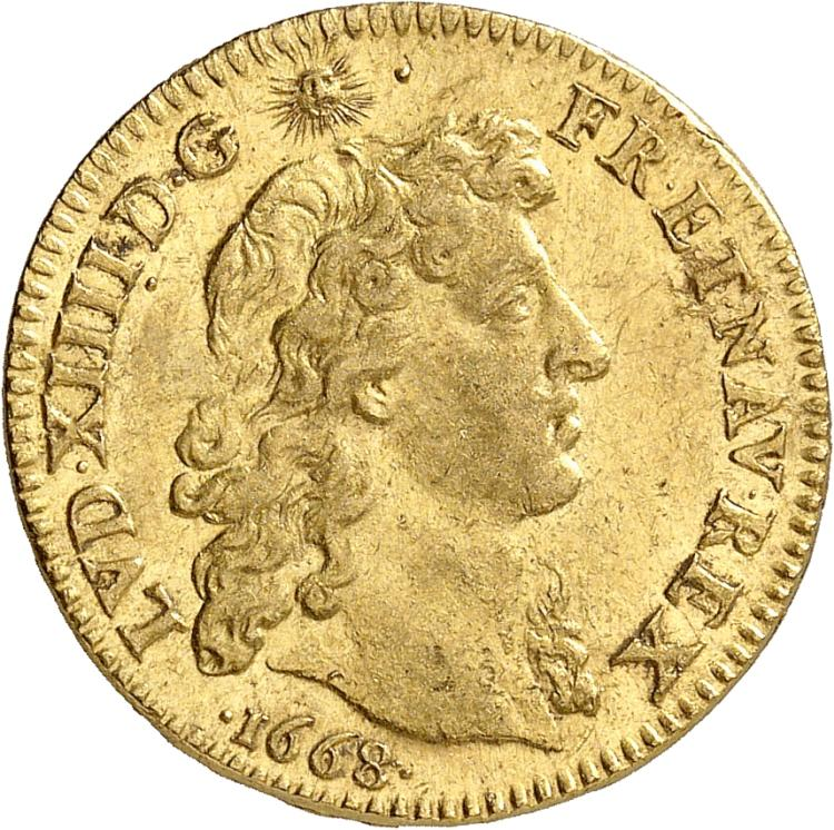 FRANCE Louis XIV (1643-1715). Louis d'or au buste juvénile nu 1668, Paris.