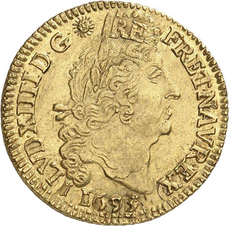 FRANCE Louis XIV (1643-1715). Louis d'or aux 4 L 1693, Bordeaux, réformation.