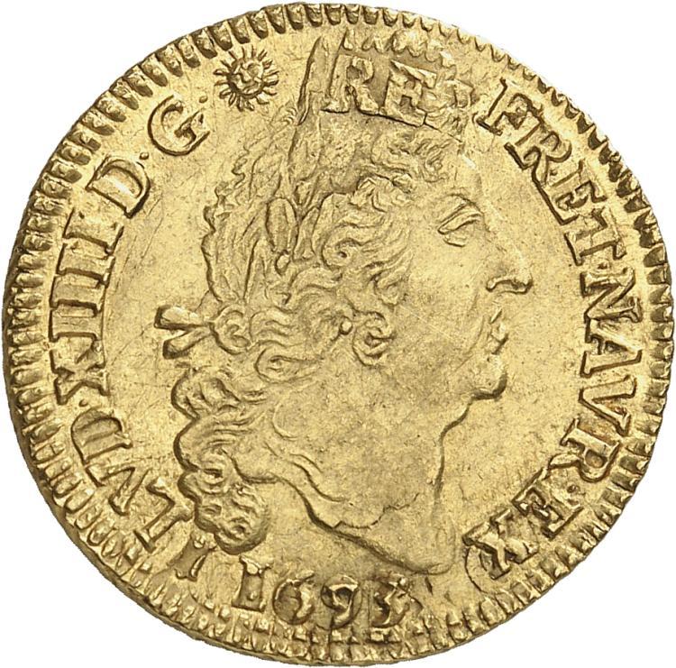 FRANCE Louis XIV (1643-1715). Louis d'or aux 4 L 1693, Bordeaux, réformation.