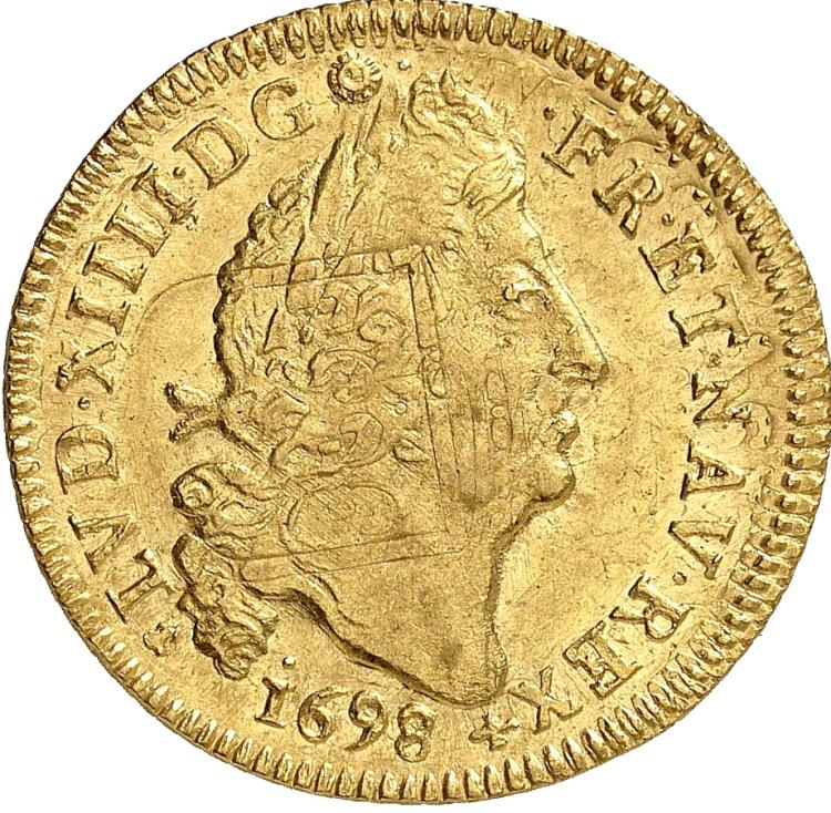 FRANCE Louis XIV (1643-1715). Louis d'or aux 4 L 1698, Nantes, réformation.