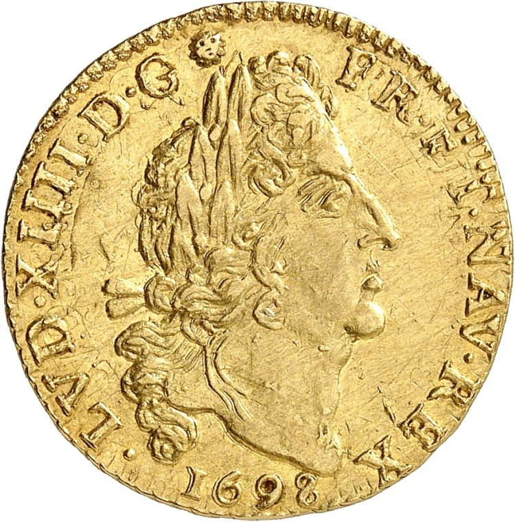 FRANCE Louis XIV (1643-1715). Louis d'or aux 4 L 1698, Caen, réformation frauduleuse.