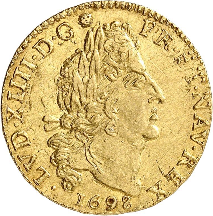 FRANCE Louis XIV (1643-1715). Louis d'or aux 4 L 1698, Caen, réformation frauduleuse.