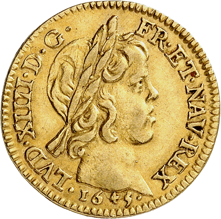 FRANCE Louis XIV (1643-1715). 1/2 louis d'or à la mèche courte 1645, Paris.