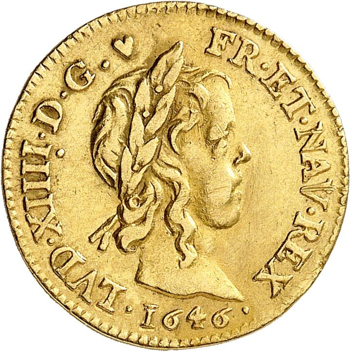 FRANCE Louis XIV (1643-1715). ½ louis d'or à la mèche longue 1646, Paris.