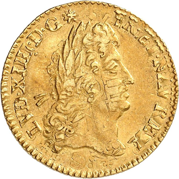 FRANCE Louis XIV (1643-1715). 1/2 louis d'or à l'écu 1691, Paris, réformation.