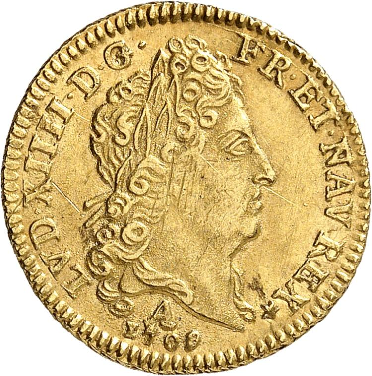 FRANCE Louis XIV (1643-1715). ½ louis d'or au soleil 1709, Paris.