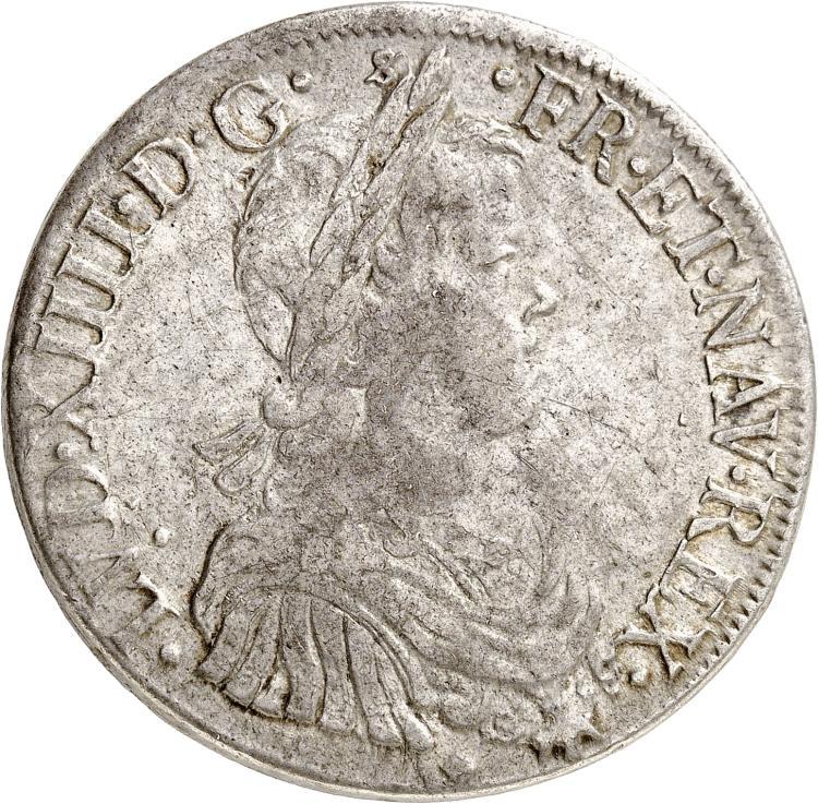 FRANCE Louis XIV (1643-1715). Écu à la mèche longue 1652, Lyon, D inversé.