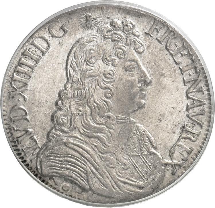 FRANCE Louis XIV (1643-1715). Écu à la cravate premier type 1682, Rennes.