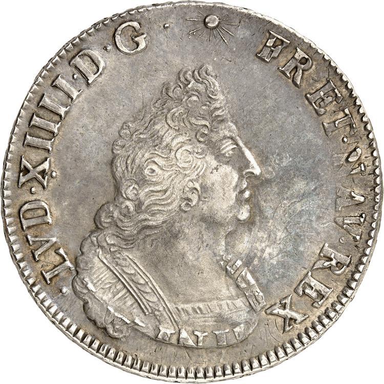 FRANCE Louis XIV (1643-1715). Écu de Flandres aux insignes premier type 1702, Lille, réformation.