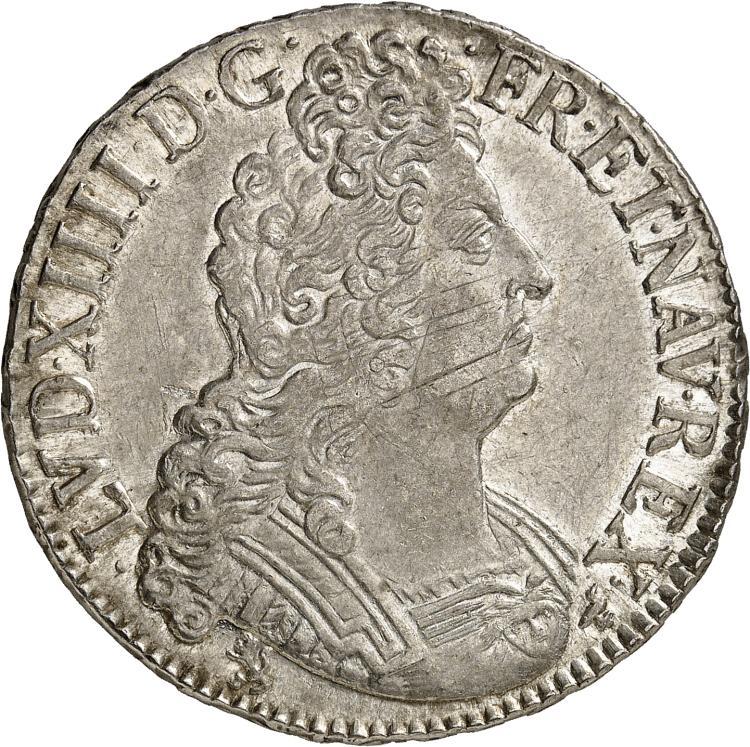 FRANCE Louis XIV (1643-1715). Écu aux 8 L 2ème type 1708, Rennes.