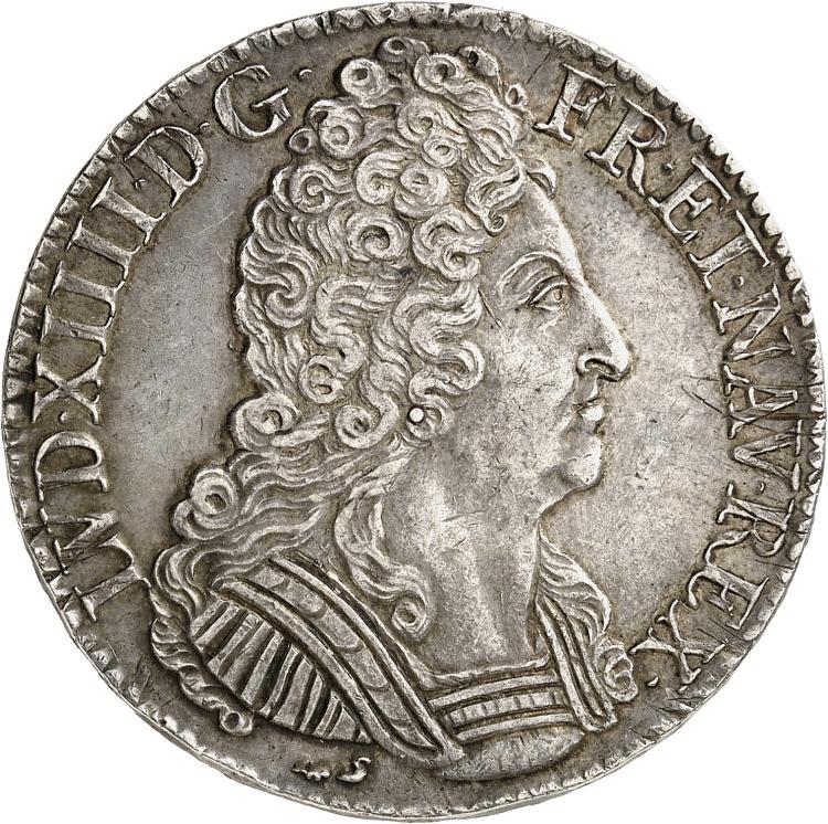 FRANCE Louis XIV (1643-1715). Écu aux trois couronnes 1711 Rouen.