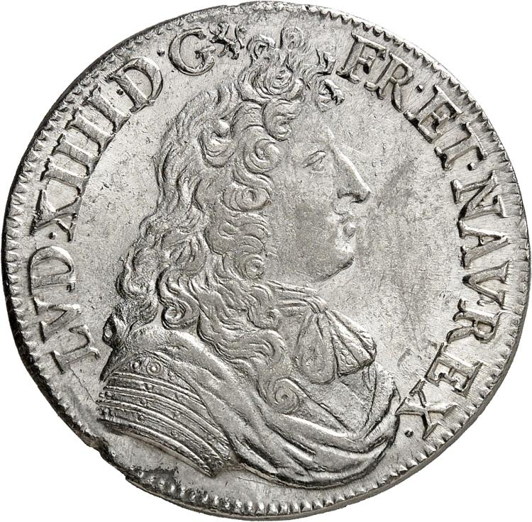 FRANCE Louis XIV (1643-1715). ½ écu à la cravate 1° type 1679, Lyon.