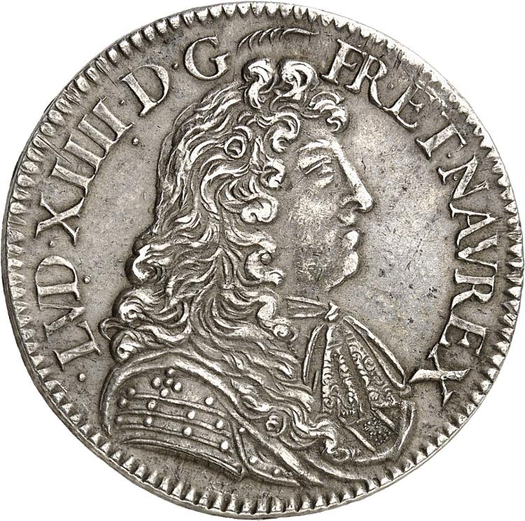 FRANCE Louis XIV (1643-1715). ½ écu à la cravate 1er type 1681, Paris.