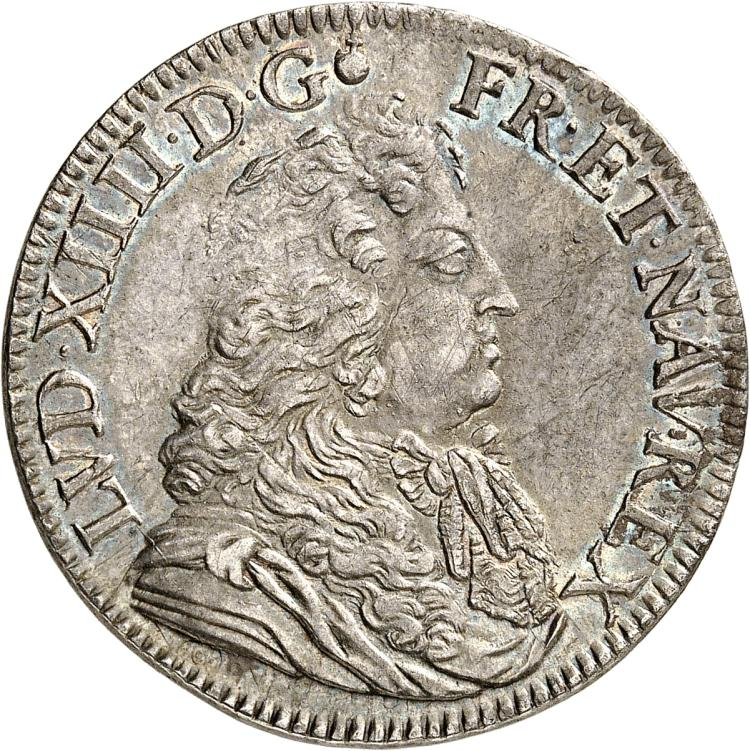 FRANCE Louis XIV (1643-1715). ½ écu à la cravate 2ème type 1684, Paris.