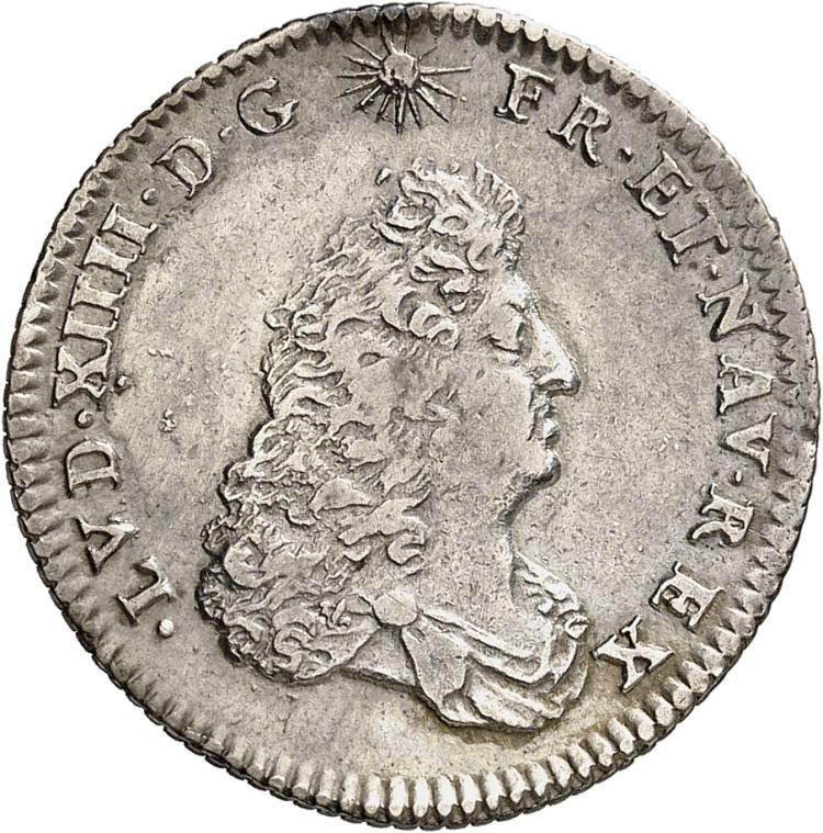 FRANCE Louis XIV (1643-1715). 1/8 écu de Flandre 1686, Lille.