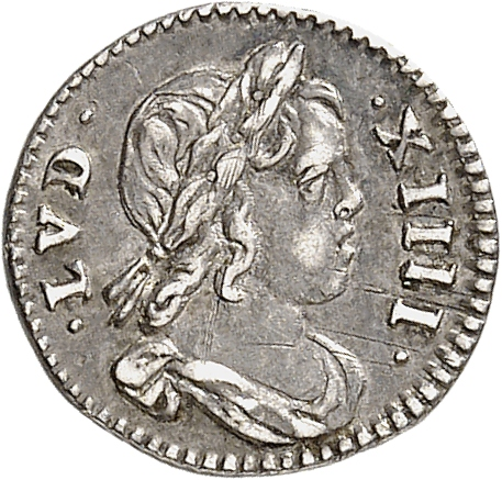 FRANCE Louis XIV (1643-1715). 1/48 Écu à la mèche courte à la légende simplifiée 1644, Paris.