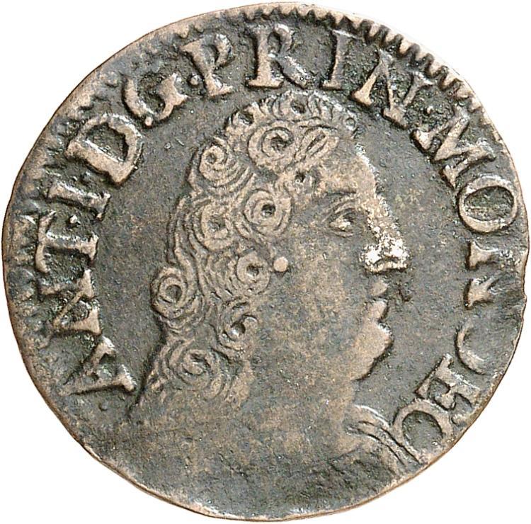 MONACO Antoine Ier (1701-1731). Liard de 4 deniers, 1720.