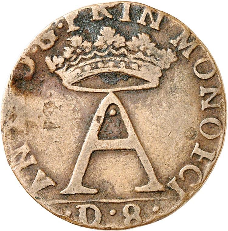 MONACO Antoine Ier (1701-1731). Dardenna de 8 deniers 1720.