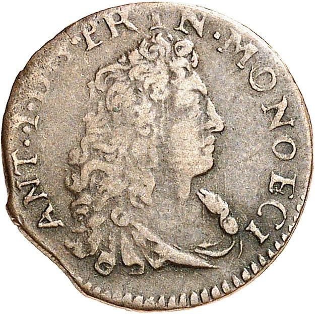 MONACO Antoine Ier (1701-1731). Sol de billon 1703, type Sainte Dévote.