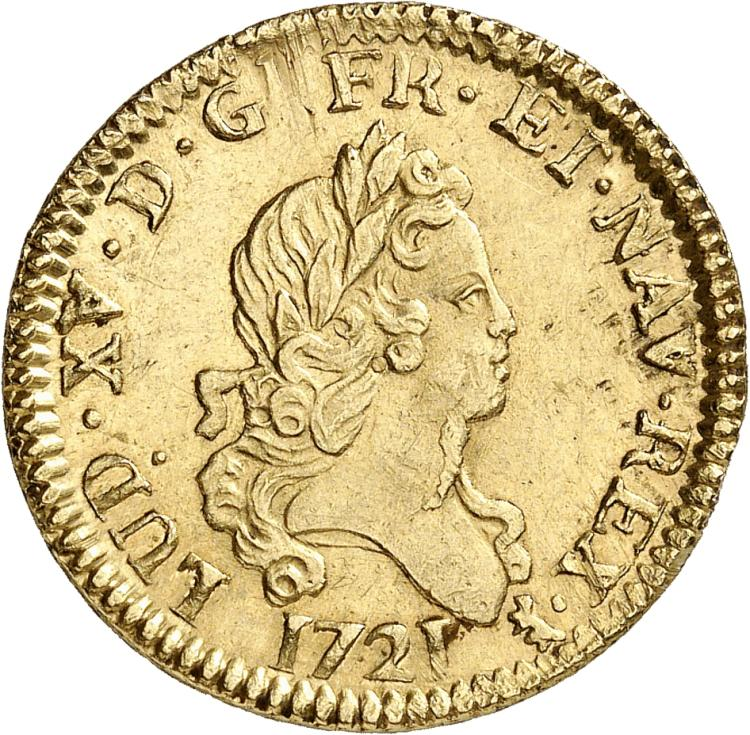 FRANCE Louis XV (1715-1774). Louis d'or aux 2 L 1721, Paris, flan neuf.