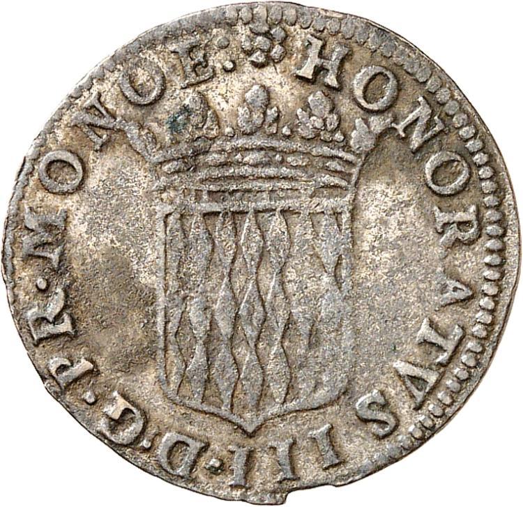 MONACO Honoré III (1733-1795). Sol de 12 deniers 1735.