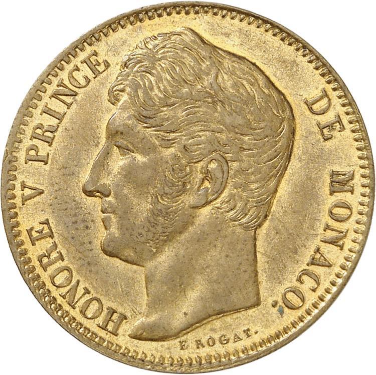 MONACO Honoré V (1819-1841). 40 francs, essai en cuivre doré 1838.