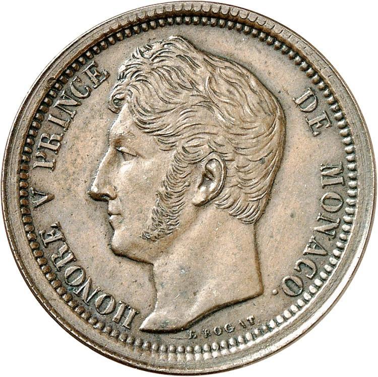 MONACO Honoré V (1819-1841). 40 francs, paire d'essais unifaces de l'avers et du revers en cuivre à la date incomplète, 183-.