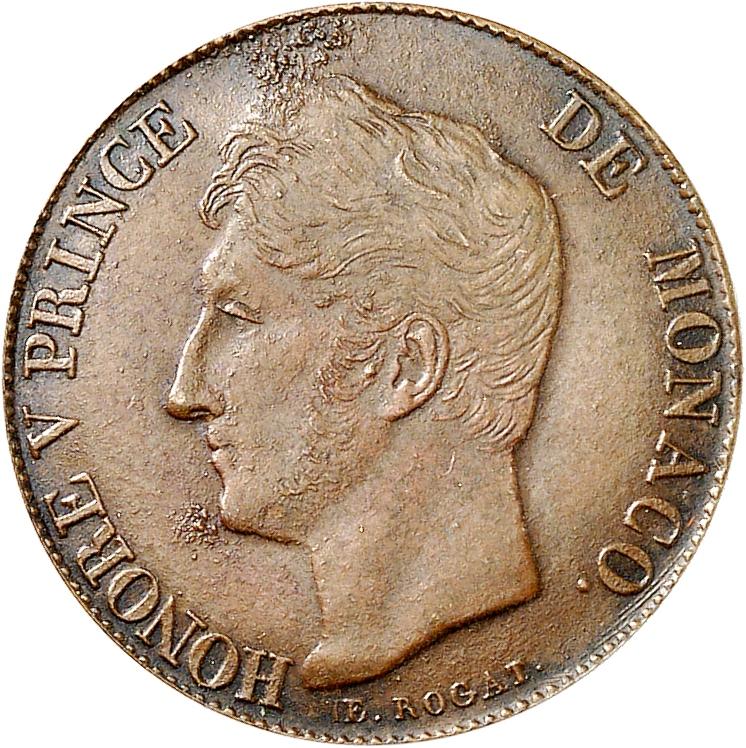 MONACO Honoré V (1819-1841). 20 francs, essai en cuivre à la date incomplète. 183-.