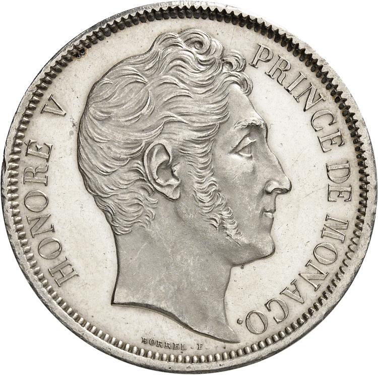 MONACO Honoré V (1819-1841). 5 francs 1837, frappe de présentation sur flan bruni.