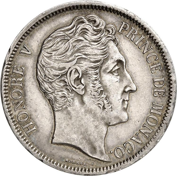 MONACO Honoré V (1819-1841). 5 francs 1837, étoile dans le D de DEO sur la tranche.