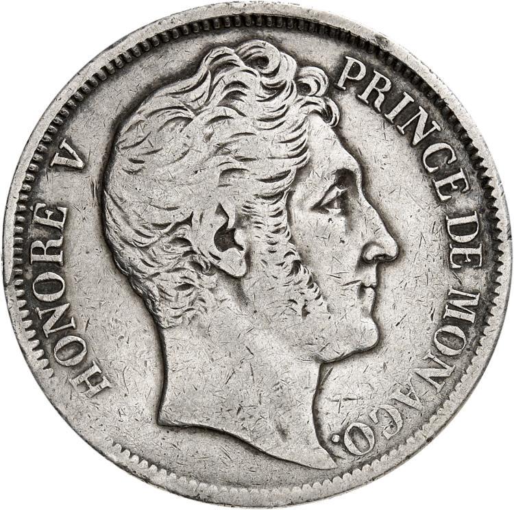 MONACO Honoré V (1819-1841). 5 francs 1837, étoile entre le D et le E de DEO sur la tranche.
