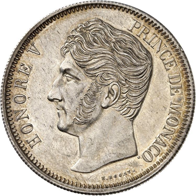 MONACO Honoré V (1819-1841). 5 francs 1837, essai en argent tête à gauche, tranche striée.