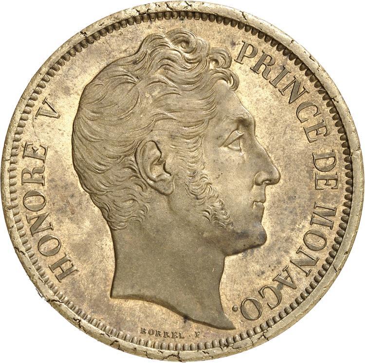 MONACO Honoré V (1819-1841). Médaille de visite au module de 5 francs en cuivre jaune 1838.