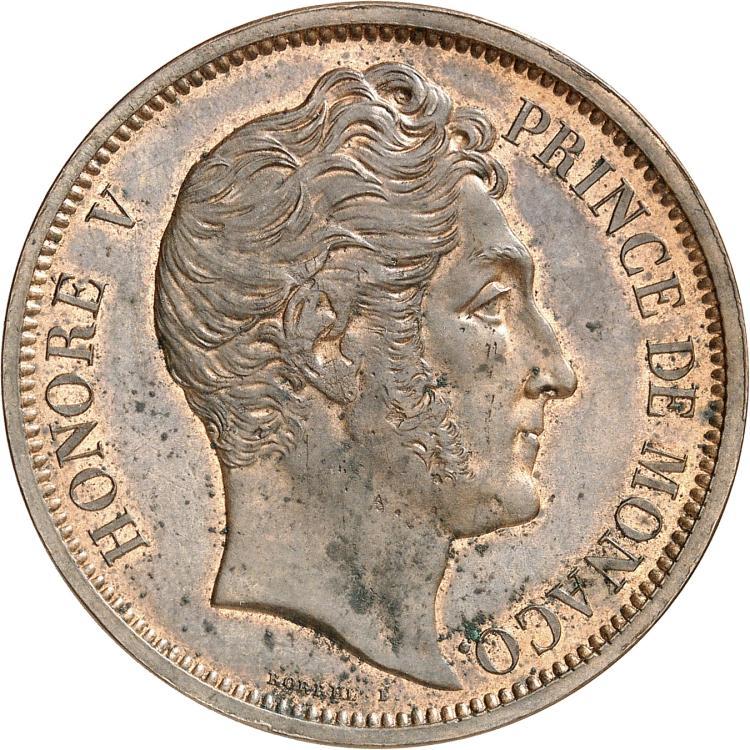 MONACO Honoré V (1819-1841). Médaille de visite au module de 5 francs en cuivre rouge 1838.