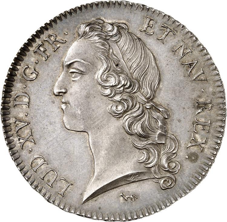 FRANCE Louis XV (1715-1774). Écu au bandeau 1740 Ier semestre, Paris. Pré-série sur flan bruni.