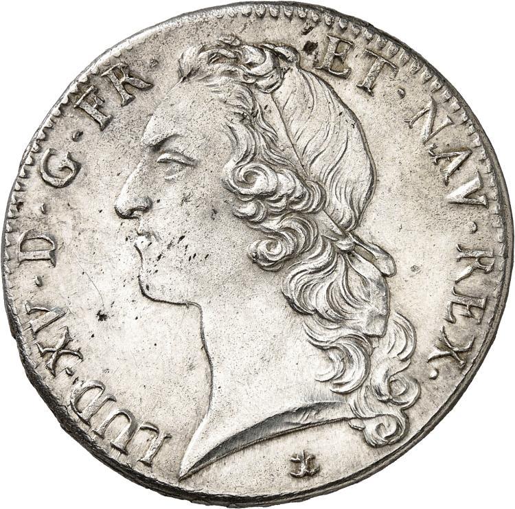 FRANCE Louis XV (1715-1774). Écu au bandeau 1742, Aix en Provence.