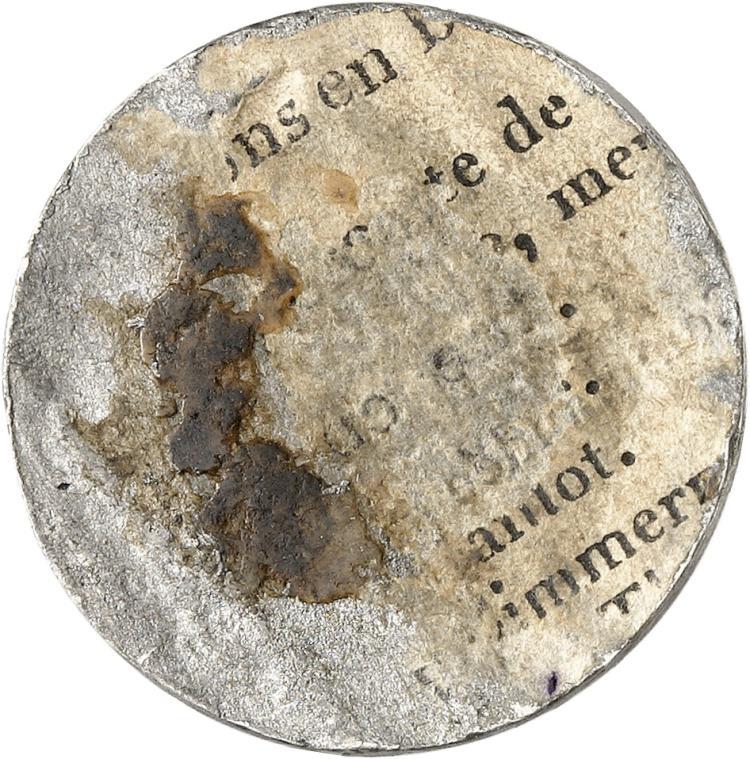 MONACO Honoré V (1819-1841). 2 francs 1838, essai uniface du revers en étain.