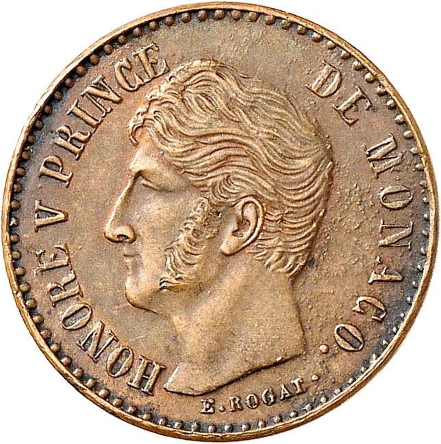 MONACO Honoré V (1819-1841). Demi franc, essai uniface de l'avers en bronze.